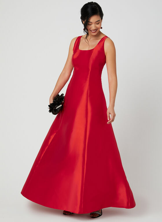 Satin Ball Gown, Red, hi-res