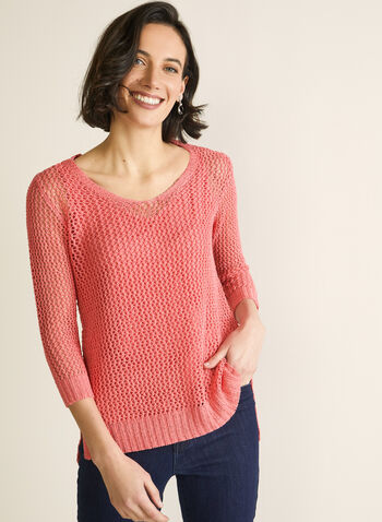 Crochet Sweater With Tank, Orange,  sweater, 3/4 sleeves, rounded v-neck, crochet, high low, jersey, tank, spring summer 2020