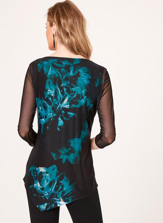 Floral Print Asymmetrical Blouse, Blue, hi-res