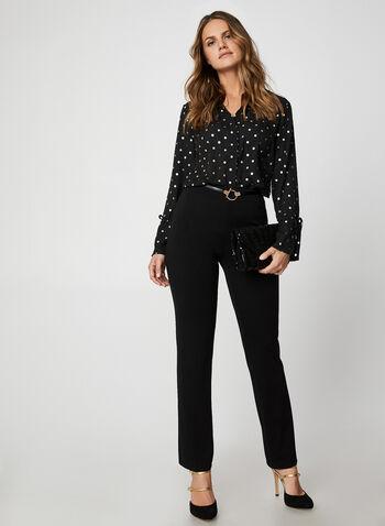 Pantalon coupe signature à jambe droite, Noir,  taille pull-on, à enfiler, taille élastique, automne hiver 2019
