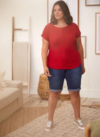 Haut à manches courts en mailles côtelées , Rouge,  printemps été 2021, haut, t-shirt, blouse, manches courtes, encolure dégagée, ourlet arrondi, mailles côtelées