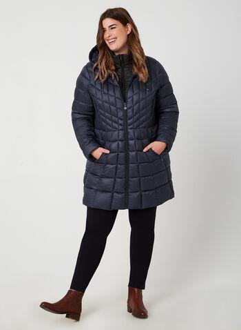 B by Bernardo - Weatherproof Coat EcoPlume™, Blue, hi-res,  fall 2019, winter 2019, coat, quilted, vest, eco friendly, hood, long sleeves
