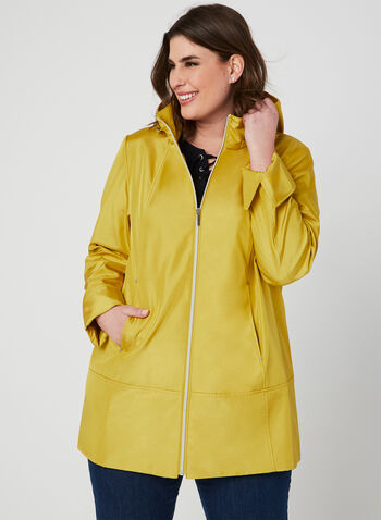 A-Line Raincoat, Yellow,  removable hood, spring 2019