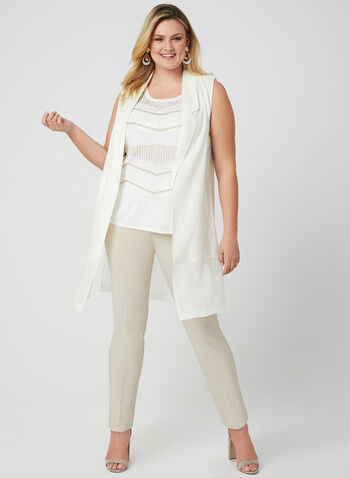 Picadilly - Sleeveless Open Front Jacket, White, hi-res,  linen, notch collar, spring 2019, cotton