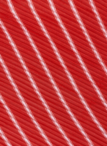 Pleated Stripe Print Neckerchief, Red, hi-res