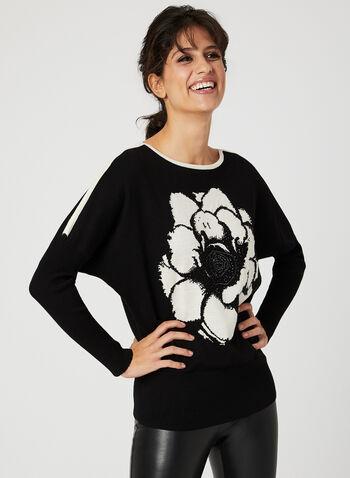 Vex - Pull à manches dolman et motif floral, Noir, hi-res