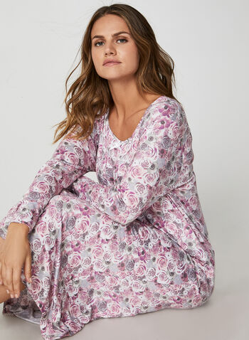 Bellina - Maxi Rose Print Nightgown, Pink,  nightgown, rose print, printed nightgown, flowers, floral print, print, comfortable, gift, pyjama, fall 2019, winter 2019