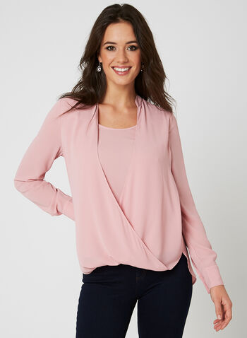 Lily Moss - Faux Wrap Blouse, Pink, hi-res