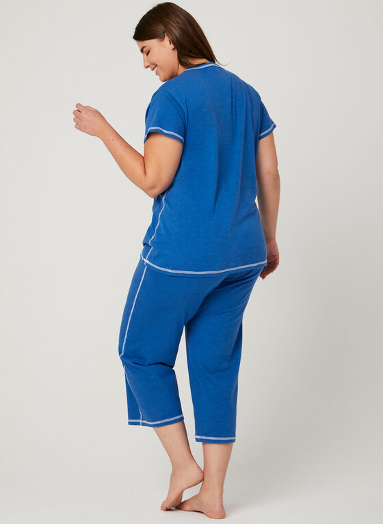 Bellina - Contrast Stitch Pajama Set, Blue, hi-res