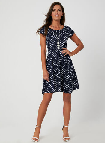 Polka-Dot Print Dress, Blue, hi-res,  spring summer 2019, polka-dot, jersey, short sleeves