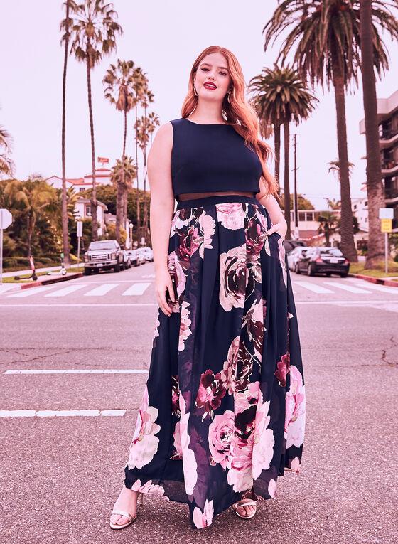 Floral Print Popover Dress, Blue