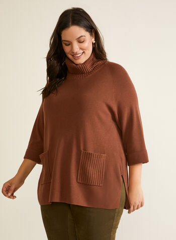 Turtleneck Tunic Sweater, Brown,  sweater, knit, tunic, long sleeves, turtleneck, rib knit, fall winter 2020