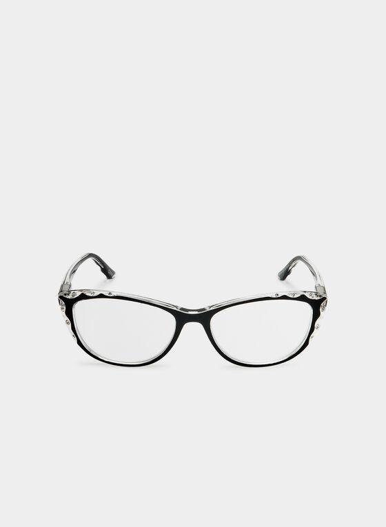 Lunettes de lecture œil de chat avec cristaux, Noir