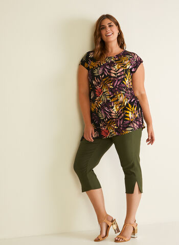 Tropical Print Asymmetric Top, Multi,  top, cap sleeve, tropical, ruched, asymmetric, spring summer 2020