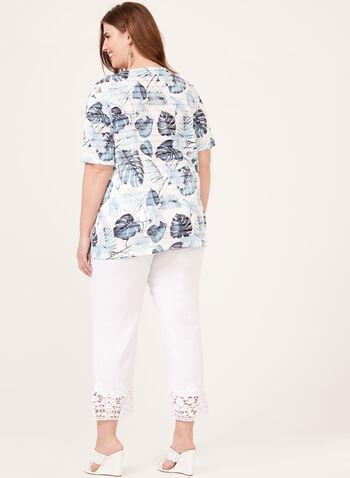 T-shirt à motif feuilles et strass, Bleu, hi-res