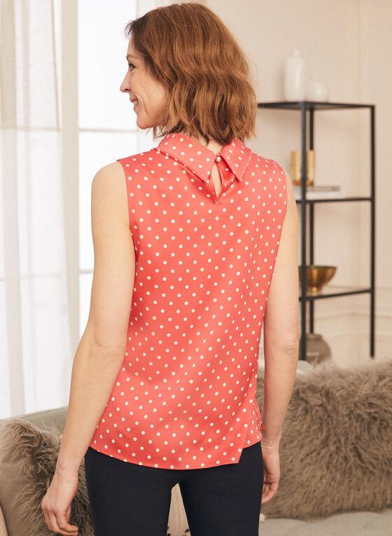 Polka Dot Print Sleeveless Blouse, Red