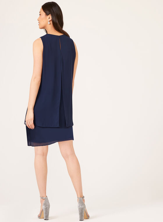Sleeveless Pearl Detail Capelet Dress, Blue, hi-res