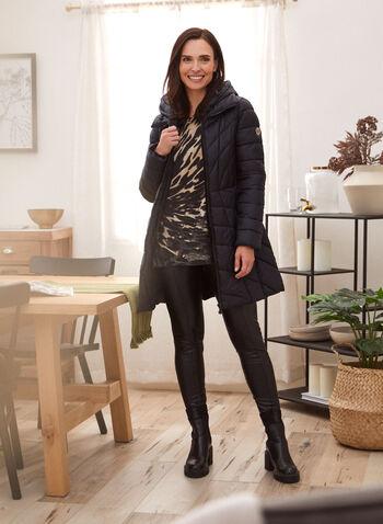 Bernardo - Manteau matelassé mi-long, Noir,  automne hiver 2020, manteau, matetelassé, duvet, Bernardo, manches longues, cintré, poches, plastron, chevrons, EcoPlume