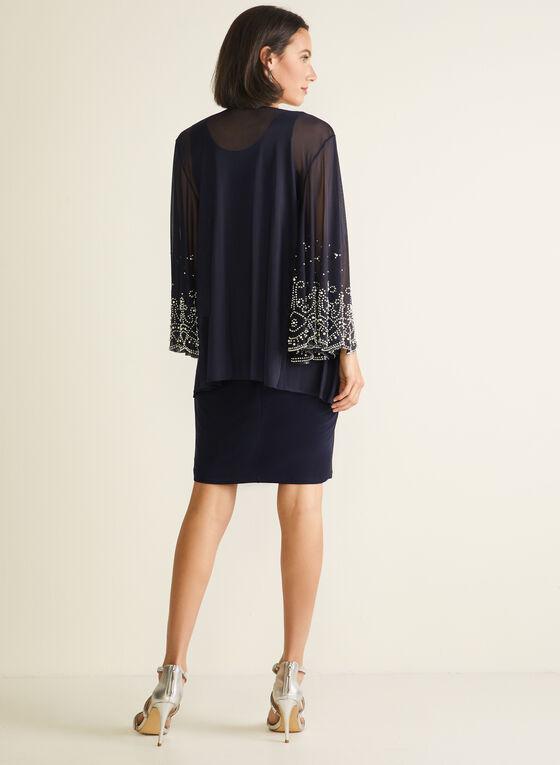 Marina - Dress & Embellished Cardigan Set, Blue