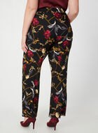 Pantalon pull-on à motif roses et chaînes, Noir, hi-res