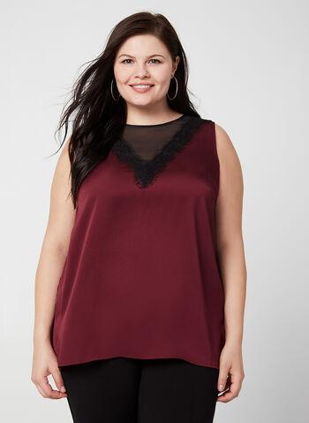 Blouse à encolure illusion et détail crochet, Rouge,  blouse, sleeveless, illusion neckline, satin, fall 2019, winter 2019