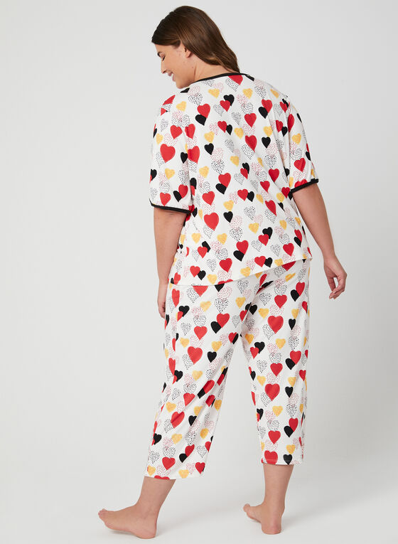 Hamilton - Heart Print Pyjama Set, White