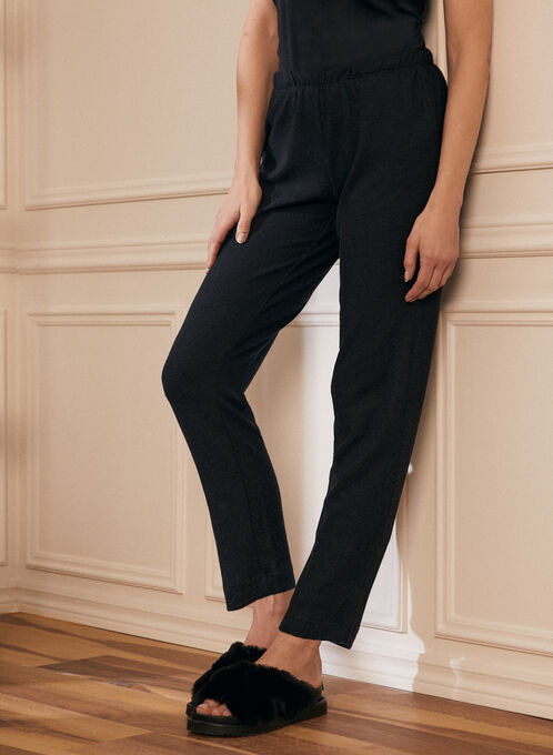 Sweater Knit Pull-On Pants, Black