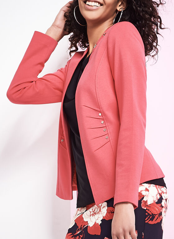 Open Front Eyelet Jacket, Red, hi-res