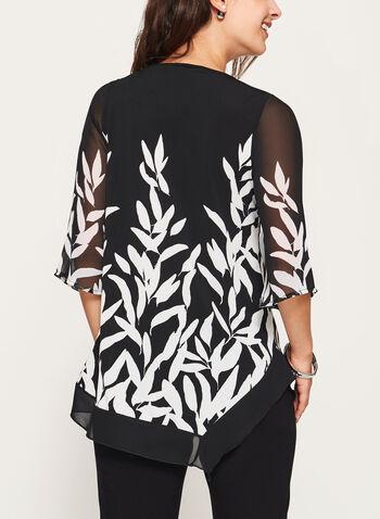 Tunique asymétrique bi-matière à motif feuilles, Noir, hi-res