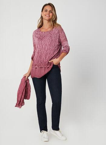 M Made in Italy - Haut superposé avec foulard, Rouge, hi-res,  automne hiver 2019, haut, superposition, foulard, tricot, manches ¾, manches longues