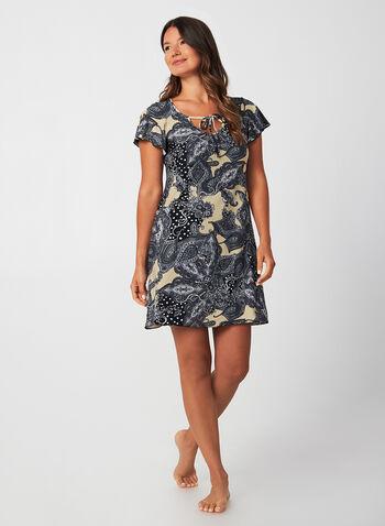 Hamilton - Tie Front Nightgown, Black, hi-res,  Canada, Hamilton, nightgown, sleepwear, short sleeves, flutter sleeves, fall 2019, winter 2019
