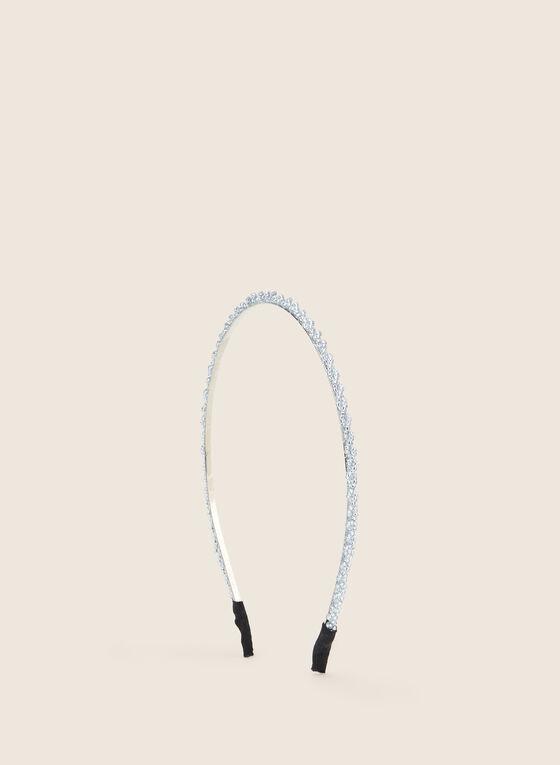 Metallic Beaded Headband, Silver