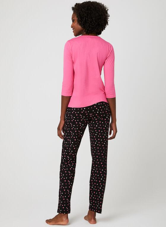 René Rofé - Heart Print Pajama Set , Grey, hi-res