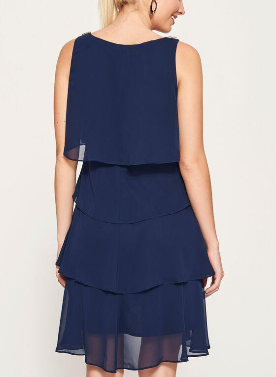 Crystal Detail Tiered Chiffon Dress, Blue, hi-res