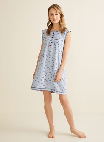 Karmilla Lingerie - Dog Motif Nightshirt, Black,  nightshirt, pajamas, dog, cotton, buttons, pocket, bow, cap sleeves, spring summer 2020