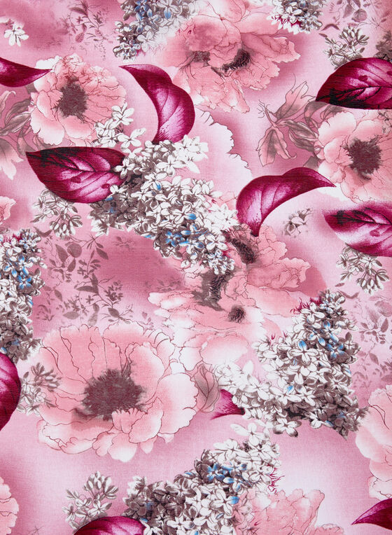 Floral & Leaf Print Scarf, Pink, hi-res