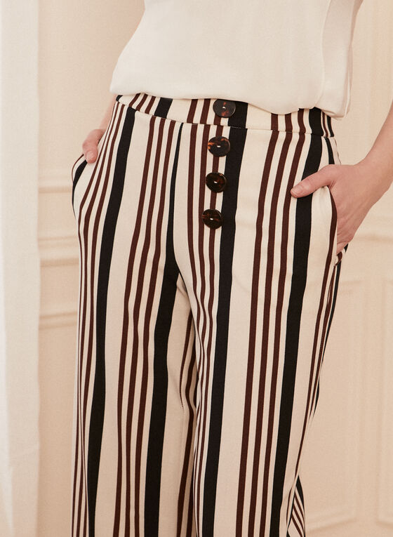 Stripe Print Gaucho Pants, White