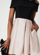Off-the-Shoulder Satin Dress, Black, hi-res