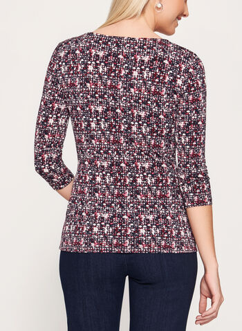 Abstract Print Side Tie Top, Red, hi-res