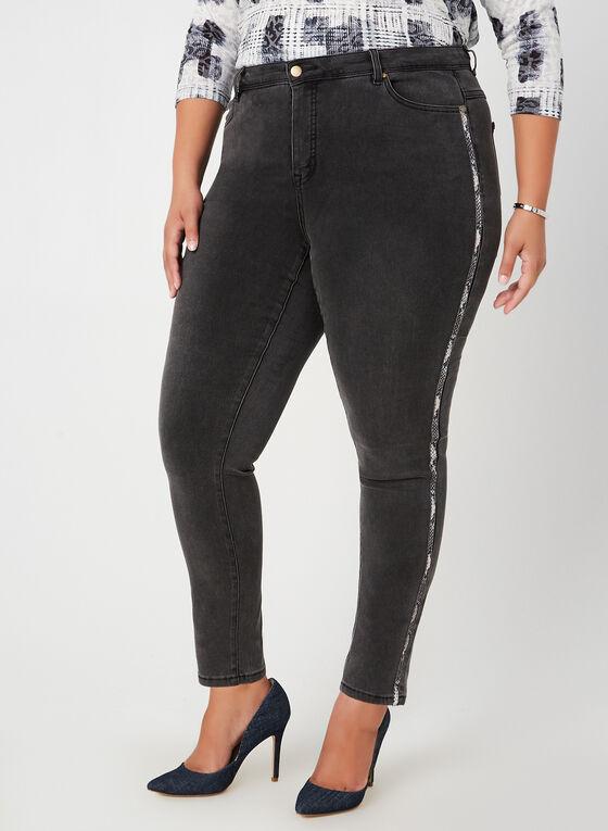 Jeans coupe moderne à bandes, Gris