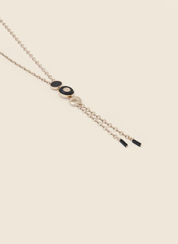 Geometric Crystal Detail Bolo Necklace, Black,  fall winter 2020, necklace, geometric, bolo, jewellery, accessories, crystal, chain