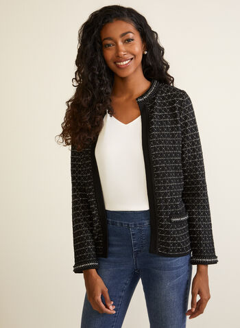 Metallic Detail Open Front Cardigan, Black,  fall winter 2020, cardigan, open, knit, long sleeves, metallic detail