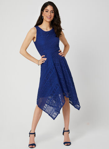 Robe sans manches en dentelle, Bleu, hi-res,  midi, printemps 2019, robe de jour, encolure ronde