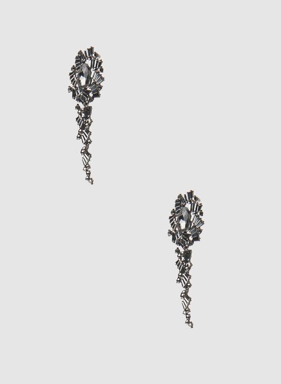 Detailed Drop Earrings , Grey