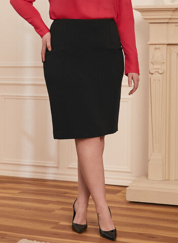 Straight Fit Pencil Skirt, Black,  pencil, skirt, straight fit, made in Canada, slit hemline, comfort, stretch, short skirt, spring summer 2021