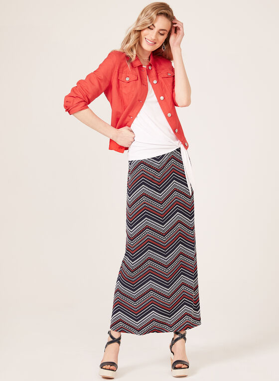 Aztec Herringbone Print Maxi Skirt, Blue, hi-res