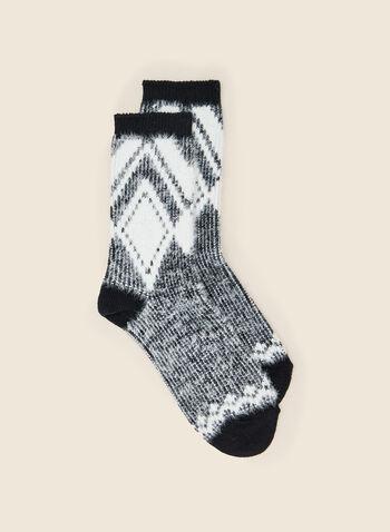Jacquard Diamond Motif Socks, Black,  holiday, gift, holiday 2020, socks, jacquard, plush, diamond, fall winter 2020
