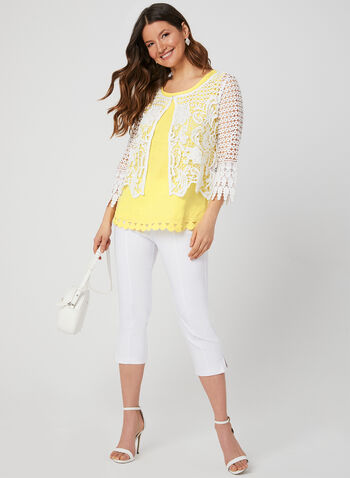 Ness - ¾ Sleeve Crochet Bolero, Off White, hi-res