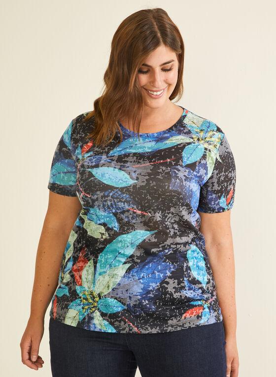 T-shirt à motif feuilles, Bleu