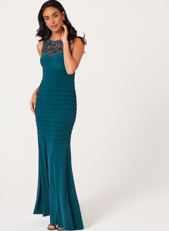 Beaded Illusion Yoke Dress, Green, hi-res